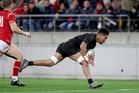 Ardie Savea scores his first test try for the All Blacks. Photo / Getty