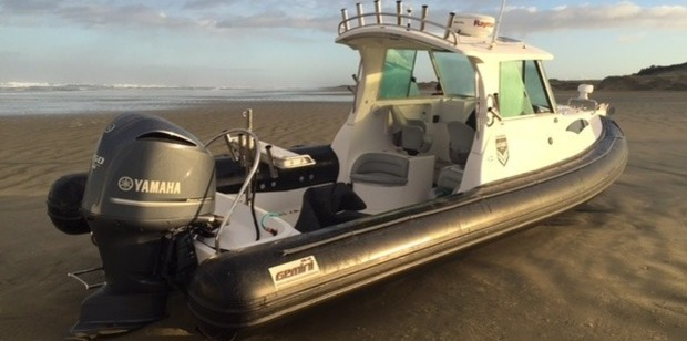 The abandoned boat on 90 Mile Beach that led to the record-breaking methamphetamine haul. Photo / Supplied