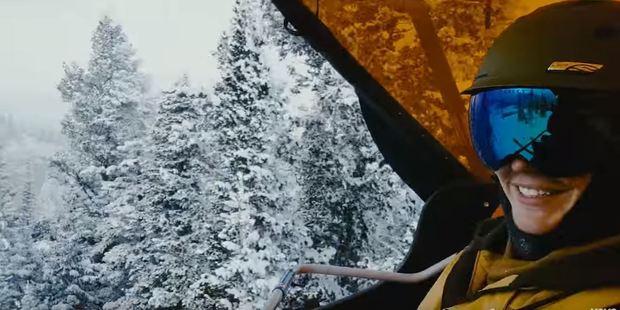 The video shows Bieber on a snowboarding holiday. Photo / YouTube