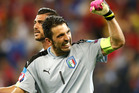 Italy's goalkeeper Gianluigi Buffon celebrates his side's 2-0 win. Photo / AP