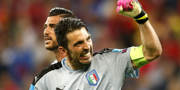 Italy's goalkeeper Gianluigi Buffon celebrates his side's 2-0 win. Photo / AP
