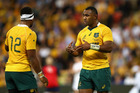 Wallabies centres Samu Kerevi (L) and Tevita Kuridrani. Photo / Getty Images