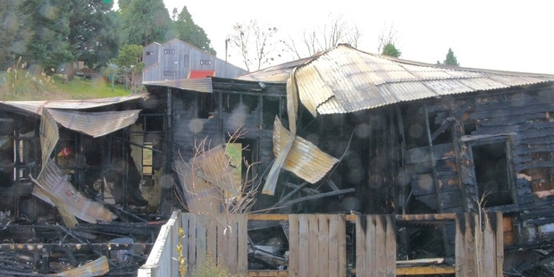 WRECKAGE: This house in Miro St, Ohakune, was unoccupied when it burned down at the weekend.PHOTO/JOHN ARCHER