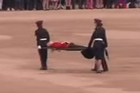 A guardsman collapses on Horse Guards Parade ahead of the Trooping the Colour parade to mark the Queen's official 90th birthday.
