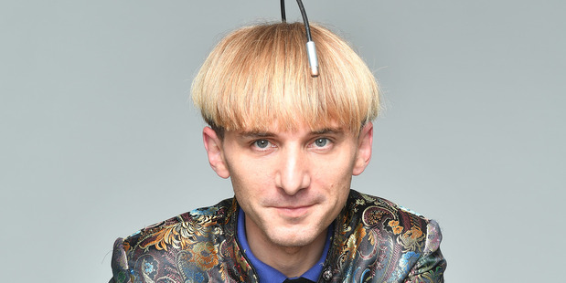 Neil Harbisson has an antenna implanted in his skull. It converts colours into sound waves. Photo / Washington Post