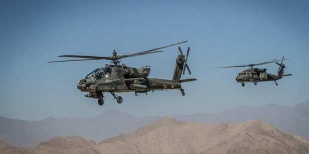 An AH-64 Apache helicopter patrols the skies over eastern Afghanistan. Photo / US Army
