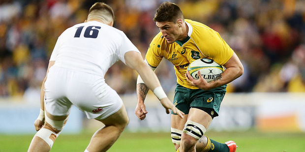 Wallabies No. 8 Sean McMahon has big shoes to fill as he replaces the injured David Pocock. Photo / Getty Images