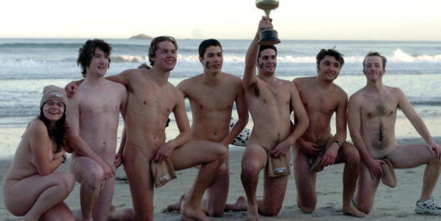 The country's premiere naked rugby team: The Nude Blacks. Photo / Getty