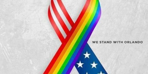 Ribbon featuring the gay pride colours and the American flag combined. Photo / Instagram
