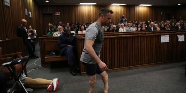 Loading Oscar Pistorius removed his prosthetic limbs and hobbled around the courtroom. Photo / Getty Images