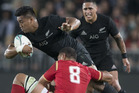 All Black Wing Julian Savea during the All Blacks' opening test against Wales. Photo / Greg Bowker