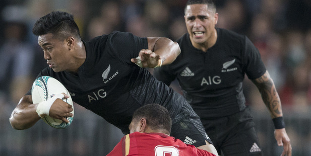 Loading All Black Wing Julian Savea during the All Blacks' opening test against Wales. Photo / Greg Bowker