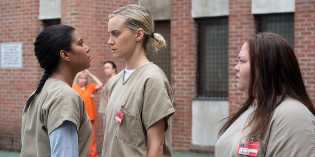 Loading Maria (Jessica Pimentel), left, confronts Piper (Taylor Schilling) in Season 4 of Orange Is the New Black. Photo / Netflix