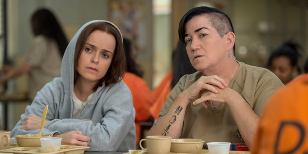 Tiffany 'Pennsatucky' Doggett (Taryn Manning), left, and Carrie 'Big Boo' Black (Lea DeLaria). Photo / Netflix