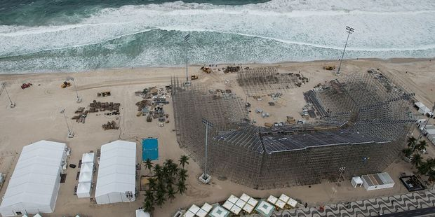 View of the construction site of the Olympic beach volleyball stadium for the Rio 2016 Olympics at Copacabana beach. Photo / Getty