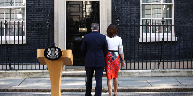 Loading David Cameron and his wife Samantha return to Downing Street after his resignation speech following the Brexit vote. Photo / Bloomberg