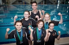 Papamoa swimmers, back, from left, Hayley Dawson, Ethan Whale, Kasha Stokes. Front, Zyleika Pratt-Smith, Talitha McEwan, and Tegan Sloan. Photo / Andrew Warner
