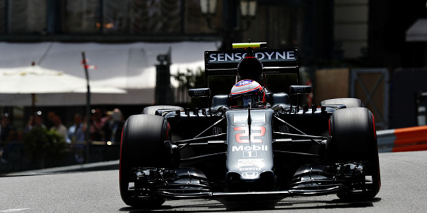 Jenson Button on track during practice for the Monaco Formula One Grand Prix. Photo / Getty Images