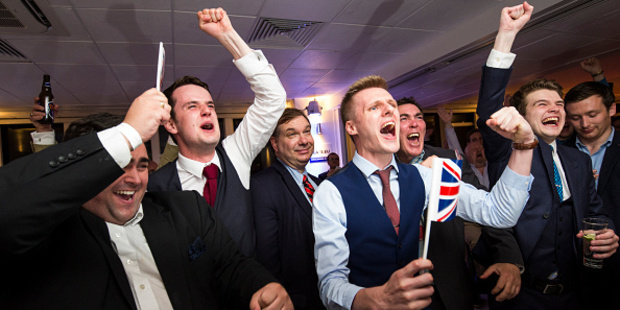 People react to a regional EU referendum result at the Leave.EU campaign's referendum party. Photo / Getty Images
