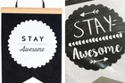Left: Liora Saad's design. Right: The Warehouse's Stay Awesome flag.