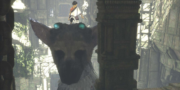Screen shot from the PS4 game The Last Guardian.