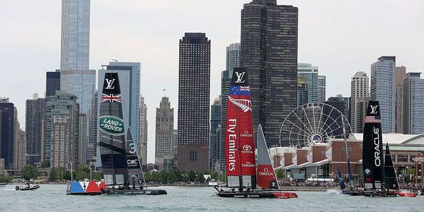 (L-R) Land Rover Bar, Emirates Team New Zealand and Oracle Team USA take part in the Louis Vuitton America's Cup World Series on June 12, 2016. Photo / Getty Images