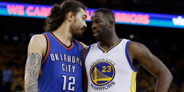 Steven Adams argues with Draymond Green during their fiery series. Photo / AP