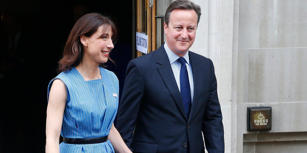 Britain's Prime Minister David Cameron, with his wife Samantha, has campaigned hard for Remain. Photo / AP