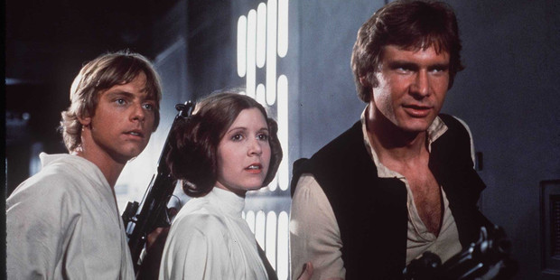 Luke Skywalker , Princess Leia , and Hans Solo from the Star Wars special edition movie.