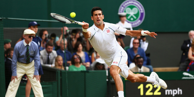 Novak Djokovic in the Wimbledon final 2015. Photo / Getty Images