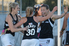 Rachel McCann, Kathryn Henry and Shiloh Gloyn celebrate scoring a goal. Photo / Getty Images
