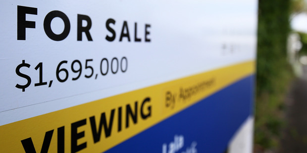 A For Sale sign in Auckland's desirable Double Grammar Zone. Photo / Getty Images