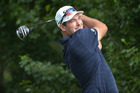 Ryan Fox tees off during the second round of The Lyoness Open. Photo / Getty Images