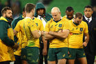 The Wallabies look dejected after another loss to England. Photo / Getty