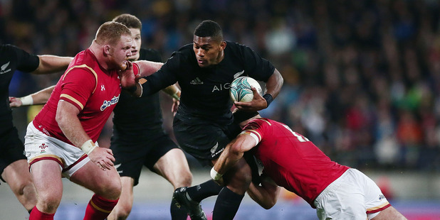 Waisake Naholo on the charge against Wales at Westpac Stadium. Photo / Getty Images