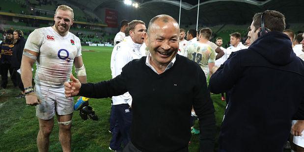 England coach Eddie Jones celebrates after their win over Australia. Photo / Getty