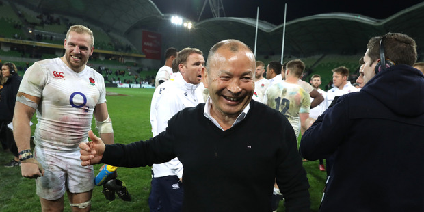 Eddie Jones, the England head coach, celebrates after victory over Australia. Photo / Getty Images