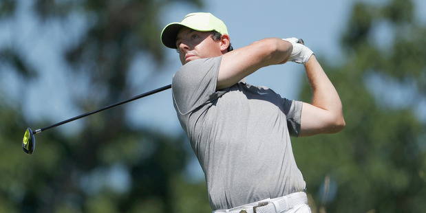 Rory McIlroy hits his tee shot during the U.S. Open at Oakmont Country Club. Photo / Getty Images