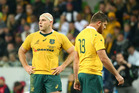 Stephen Moore (left) and Greg Holmes look dejected as England seal their first ever series win in Australia last night. Photo / Getty Images