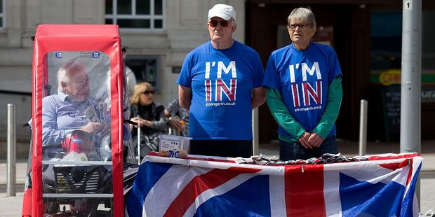 Loading Campaigners for 'Britain Stronger in Europe', the official 'Remain' campaign group. Photo / Getty