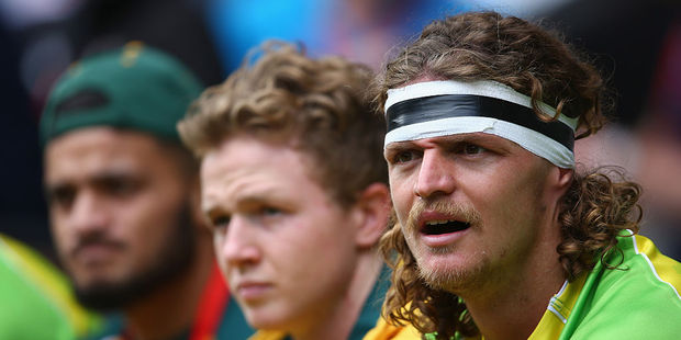 Nick Cummins of Australia looks on during the bowl quarter final match between Samoa and Australia during the HSBC London Sevens. Photo / Getty Images