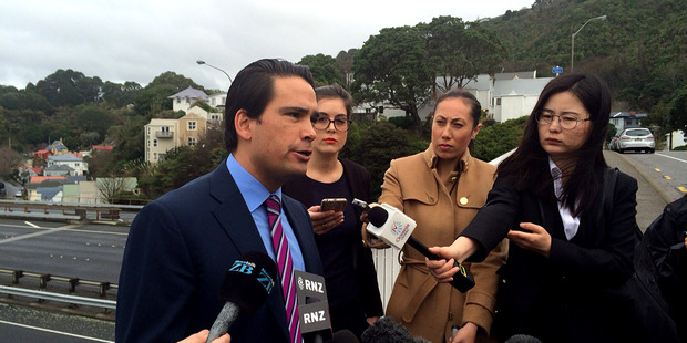 Simon Bridges at the announcement this morning. Photo/Supplied