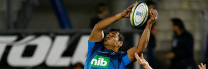 Lock Gerard Cowley-Tuioti in action for the Blues. The Blues beat the Northland Barbarians 73-8 at Toll Stadium. Photo / Michael Cunningham