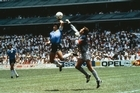 Sport, Football, 1986 Football World Cup, Mexico, Quarter Final, Argentina 2 v England 1, 22nd June, 1986, Argentina's Diego Maradona scores 1st goal with his Hand of God, past England goalkeeper Peter Shilton  (Photo by Bob Thomas/Getty Images)
