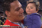 Chris Masoe carrying Jerry Collins daughter at the full time whistle. Photo / Twitter.