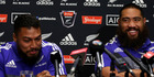 George Moala (L) and Charlie Faumuina of the All Blacks speak with the media during a New Zealand All Blacks Media session. Photo / Getty Images.