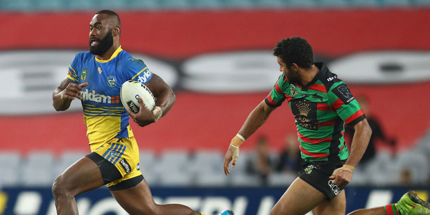 Semi Radradra of the Eels breaks away to score a try during the round 15 NRL match between the South Sydney Rabbitohs and the Parramatta Eels. Photo / Getty Images.