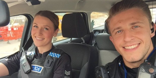 Essex Police wanted to raise the profile of safe driving with this selfie of Sergeant Kayleigh Webster and Police Constable Daryl Jones. Photo / Facebook