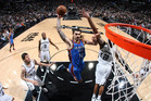 Steven Adams #12 of the Oklahoma City Thunder goes up for a dunk against the San Antonio Spurs in Game Two of the Western Conference Semi-Finals. Photo / Getty Images.