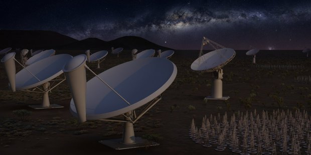 Artist impression of the first phase of the Square Kilometre Array at night. Photo / SKA Organisation / Eye Candy Animation
